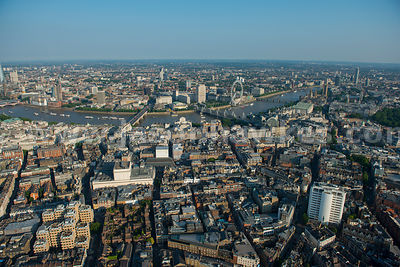 Aerial view of Covent Garden, looking towards the River Thames, London