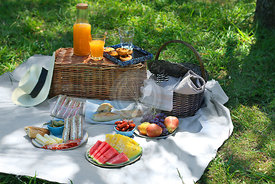 Summertime picnic scene in the park with fresh fruit, sandwiches, basket and accessories