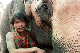 A portrait of a mahoot with his elephant at the Baan Chang Elephant Park in Thailand.