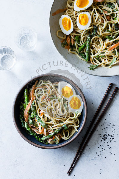 Asian spring vegetable noodles with soft egg