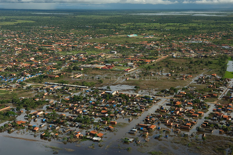 Aerial view of the ciy of Trinidad during the flood of summer 2008, after the waters have receded about one meter, in Beni Department, Bolivia.