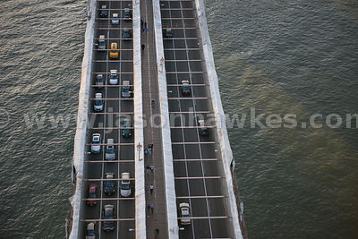 A close up of traffic crossing Brooklyn Bridge