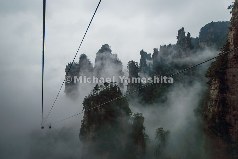 Wulingyuan National Forest Park, World Heritage site, where Avatar was filmed. Pics of Tianzhishan Cable car