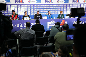 Mihajlo MARSENIĆ of Vardar, Raul GONZALES of Vardar, Veselin VUJOVIĆ of PPD Zagreb, Luka ŠEBETIĆ of PPD Zagreb during the Final Tournament - Final Four - SEHA - Gazprom league, semi finals match, Varazdin, Croatia, 03.04.2016..Mandatory Credit ©SEHA/Zsolt Melczer