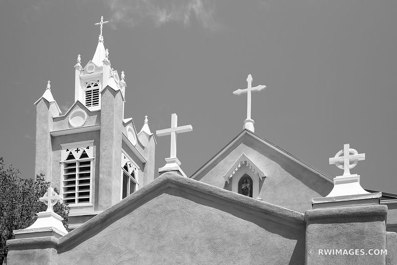 SAN FELIPE DE NERI CHURCH HISTORIC OLD TOWN ALBUQUERQUE NEW MEXICO BLACK AND WHITE