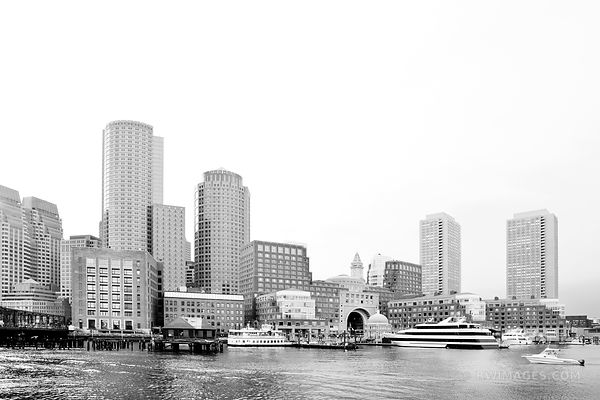 BOSTON WATERFRONT ROWES WHARF BOSTON SKYLINE BLACK AND WHITE