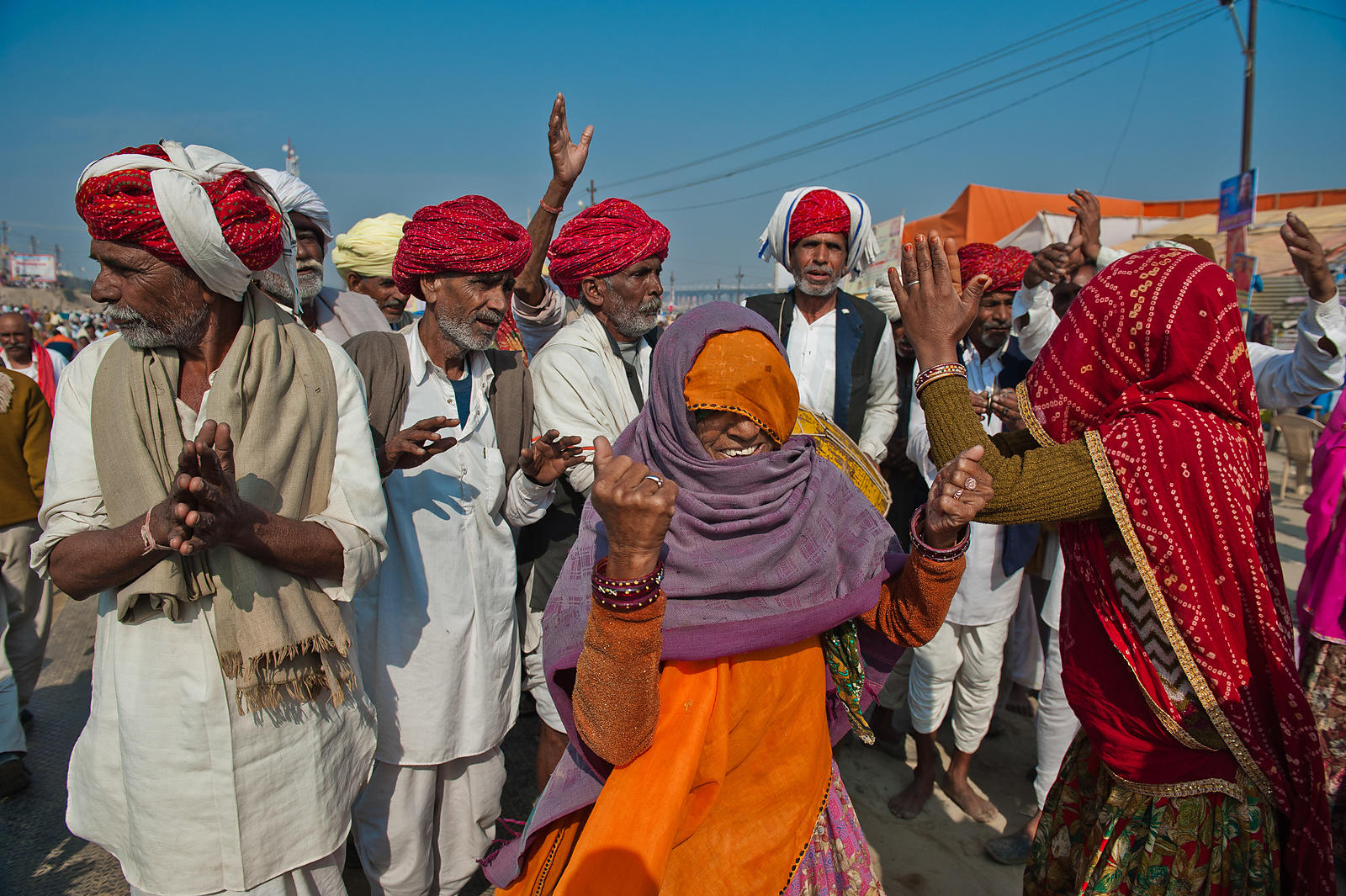 This photograph of the pilgrims dancing and celebrating was shot at the Kumbh Mela in Allahabad