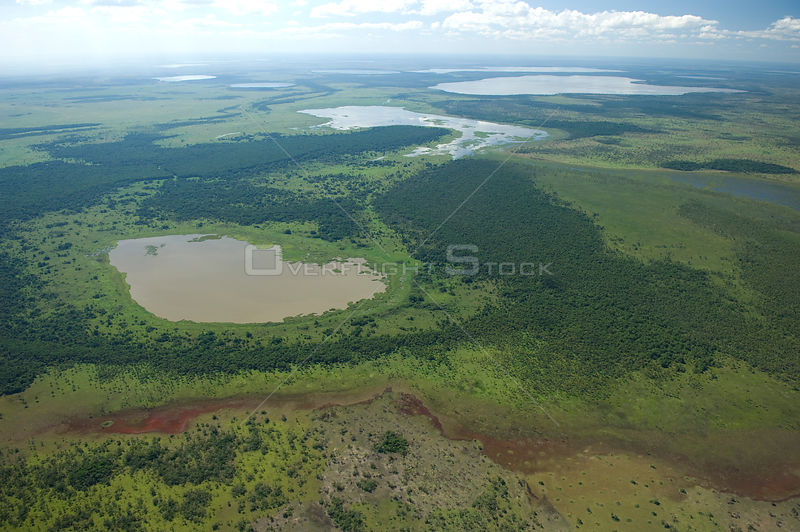 Aerial view of lakes, during the flood season, in the region of the great lakes of the Northern Beni Department of Northeastern Bolivia.