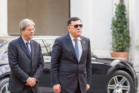 Prime Minister of Italy Gentiloni welcomes his Libyan counterpart Fayez al-Sarraj to the Palazzo Chigi, Rome, Italy, 20, Mar, 2017