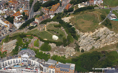 aerial photograph of Hastings Castle East Sussex England UK.