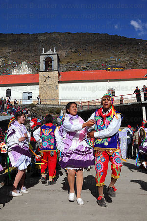 Contradanza dancers in front of Sanctuary during Qoyllur Riti festival, Peru