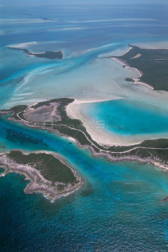 Aerial view of Exuma Cays, Great Bahama Bank, Bahamas.