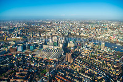 Aerial view of London, Southbank with London Eye and Houses of Parliament from Southwark.