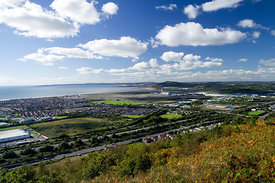 Baglan and Baglan Bay from the Wales Coast path (high level route) Neath Port Talbot, South Wales.