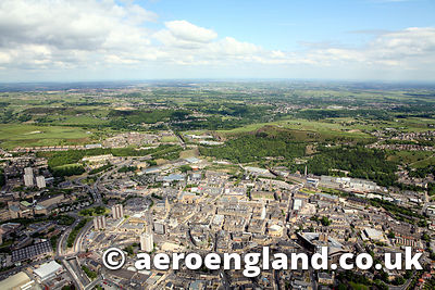 aerial photograph of Halifax  Yorkshire England UK
