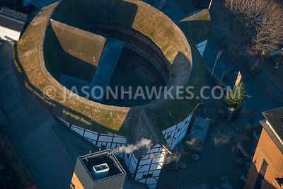 Aerial view of London, close up of Globe Theatre, Southwark.