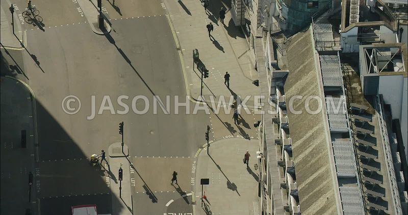 London Aerial Footage of Regent Street close up.