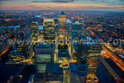 Aerial night view of Canary Wharf, London.