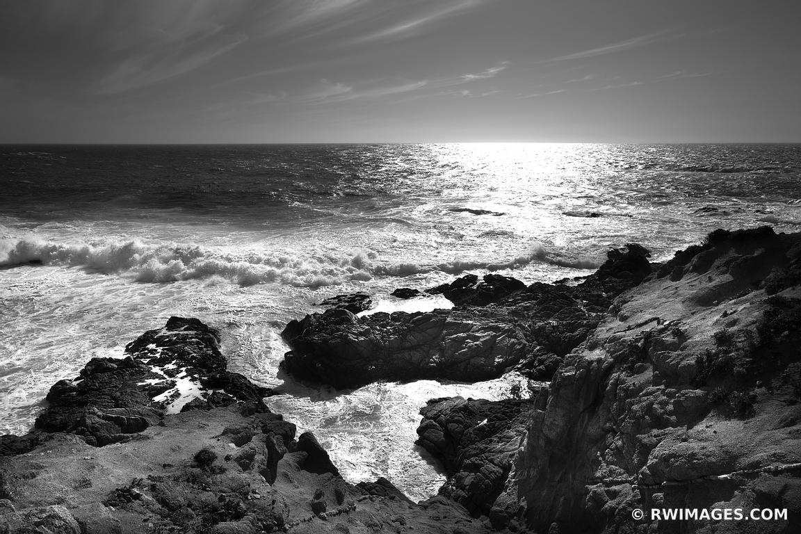 SOBERANES POINT GARRAPATA STATE PARK BIG SUR CALIFORNIA BLACK AND WHITE LANDSCAPE