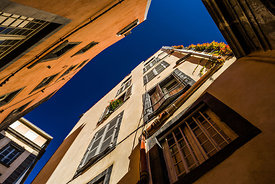 Colored buildings facades in old Clermont Ferrand