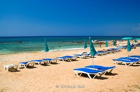 sun beds on beach, ayia napa, cyprus