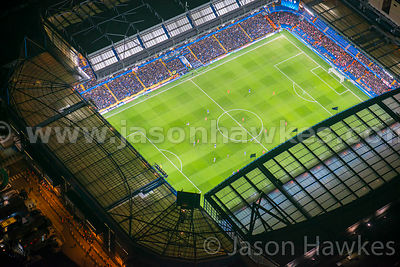 Aerial view of Stamford Bridge at night, Chelsea, London