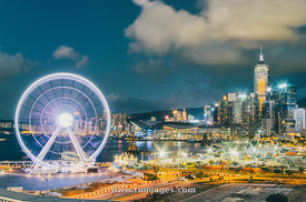 hong kong skyline with ferris wheel
