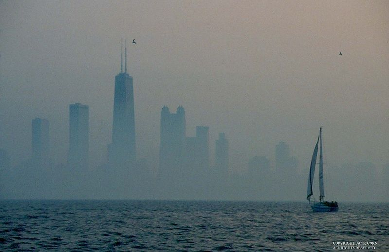 Chicago fog, sailboat