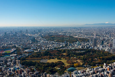 Cityscape of Tokyo Japan with view of Mount Fuji. Tokyo National Stadium