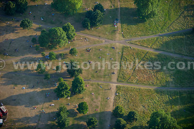 Aerial view of people relaxing in Hyde Park, London