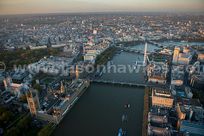 London. Aerial view of Westminster and Lambeth