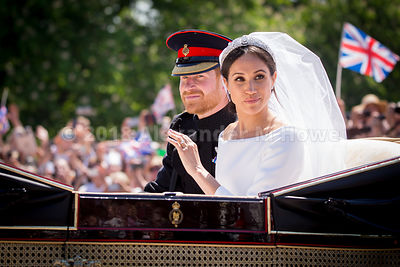 The Duchess of Sussex, Meghan Markle and Prince Harry during their carriage ride in The Long Walk