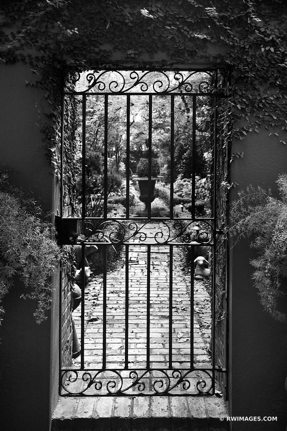 IRON GATE AND GARDEN SAVANNAH GEORGIA BLACK AND WHITE VERTICAL