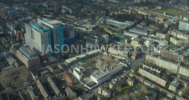 London Aerial footage, Royal London Hospital, East London.