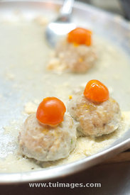 minced meat ball with salted egg yolk