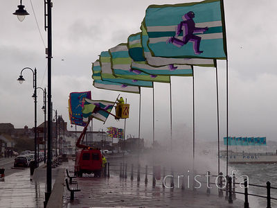 wild June day on Penzance Promenade