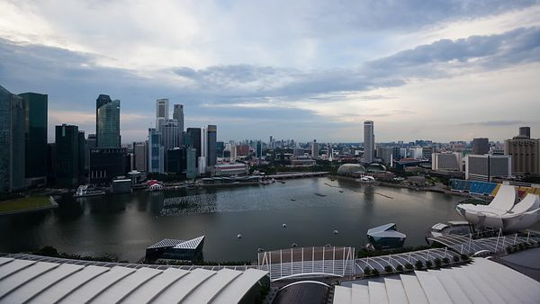 Wide Shot: Marina Bay Sunset & City Lights