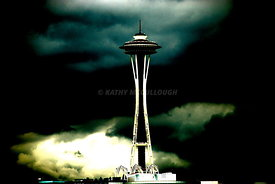 Stormy space needle