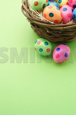 Cute easter eggs with dots in a nest with green background Lots of copy space..Studio shot