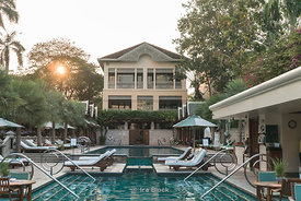 A view of the swimming pool at The Peninsula Hotel, Bangkok.
