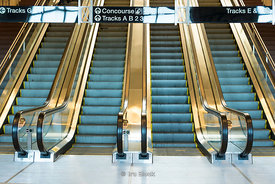 Escalators at Frank R Lautenberg Rail Station - Secaucus Junction in New Jersey.