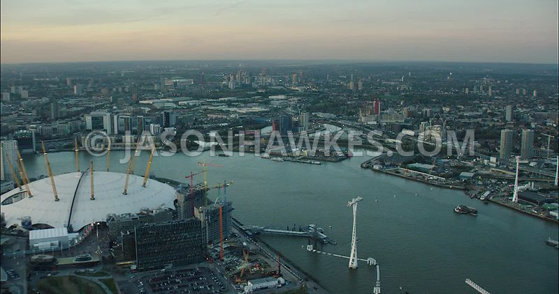 London Aerial Footage of O2 Arena