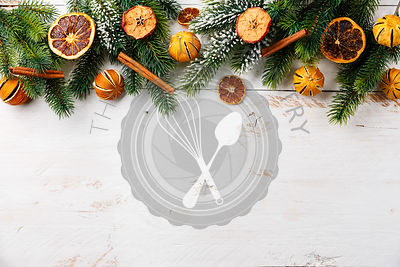 Fir tree Branch with dried tangerine and spice natural decor Christmas Holiday New Year Frame composition background copy space