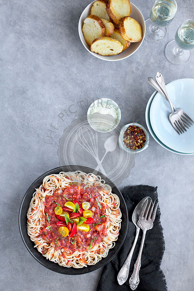 Roasted Tomato Basil Sauce over Brown Rice Spaghetti