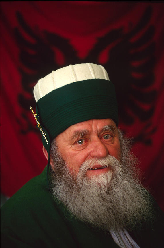 A Bektashi Dervish elder in their mosque in Tirana Albania. The Bektashi's are an order of Sufi's, Muslim mystics and were persecuted along with all other religions under the Communist regime