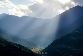 Mountain with sunlight beam in Punakha, Butan.