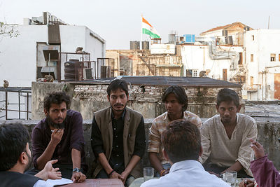 India - New Delhi - Student activists hold a political meeting on the terrace of the Indian Coffee House
