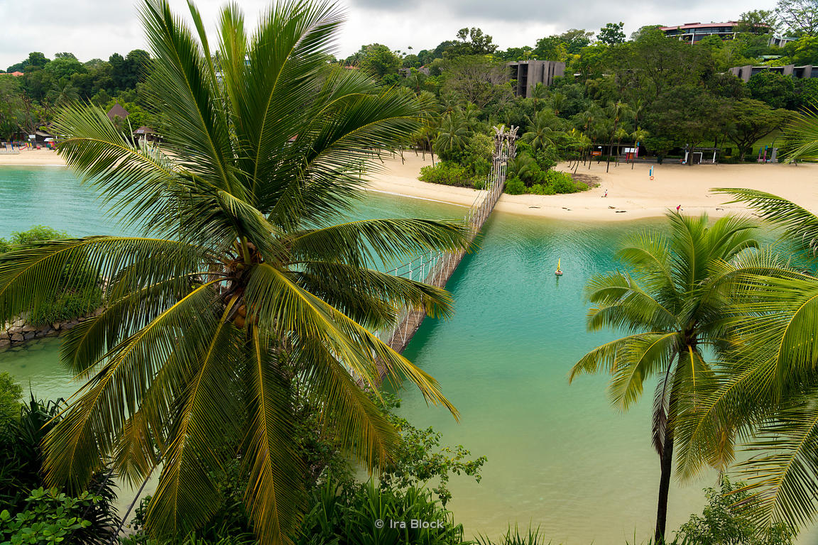 A view of the rope bridge at Palawan Beach in Sentosa Island, Singapore.