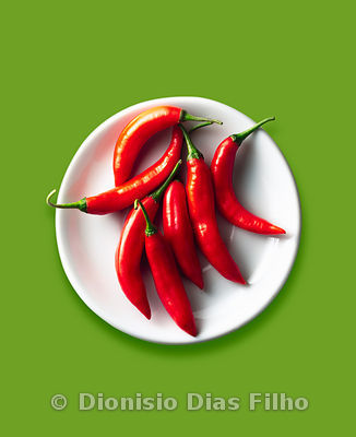 Red peppers in a white Dish