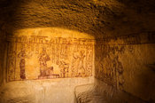 ancient painting in a tomb, mountain of the dead, Siwa oasis, the Great Sand Sea, Western desert, Egypt